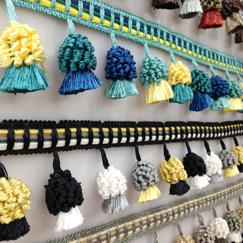 2Yard/Lot New Multi-color Hanging Ball Curtain Lace Tassel Fringe Clothes Accessories Home Textile Pom Lace Trim Decoration