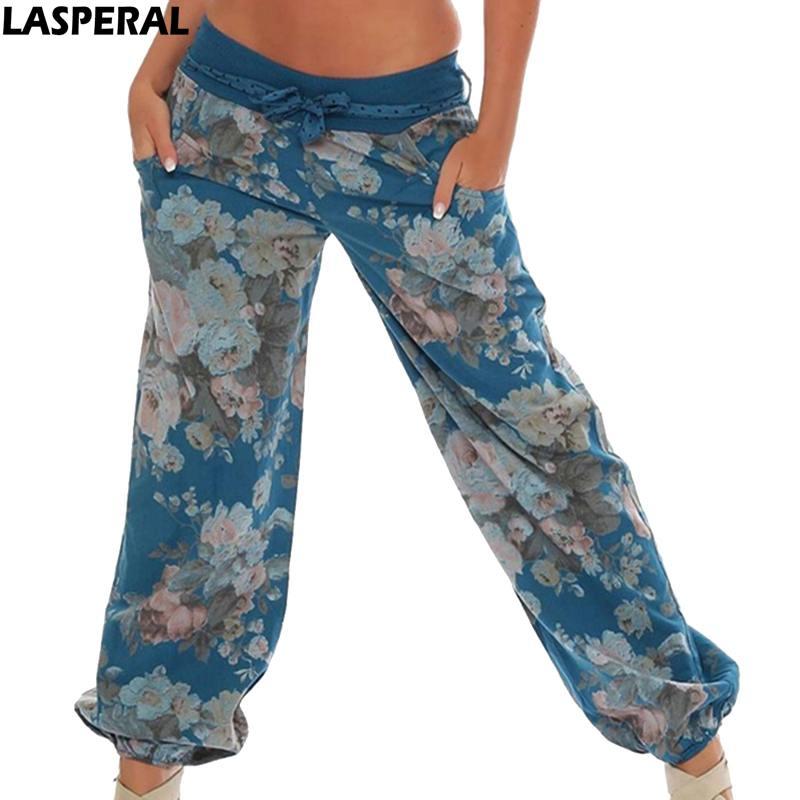 LASPERAL Floral Print Casual   Wide     Leg     Pants   Long Harem   Pants   High Waist Loose Elastic Waist Trousers Plus Size 2019 Beach   Pants