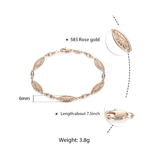 Image 5 - 6mm 585 Rose Gold Bracelet for Womens Girls Elegant Flowers Link Weaving Bracelet Fashion Wedding Jewelry Gift CB12