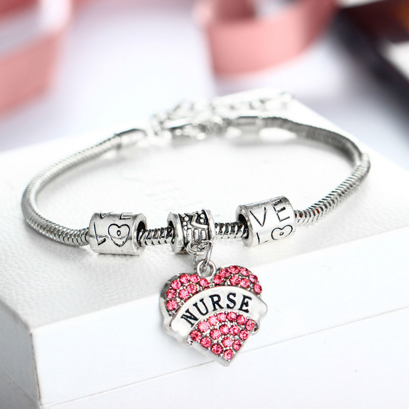 Pink Love Heart Crystal Nurse Charm Bracelet Women Jewelry S Gifts Bangle Beads Chain In Bracelets From Accessories On
