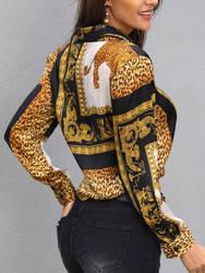 Блузка с длинными рукавами и леопардовым принтом