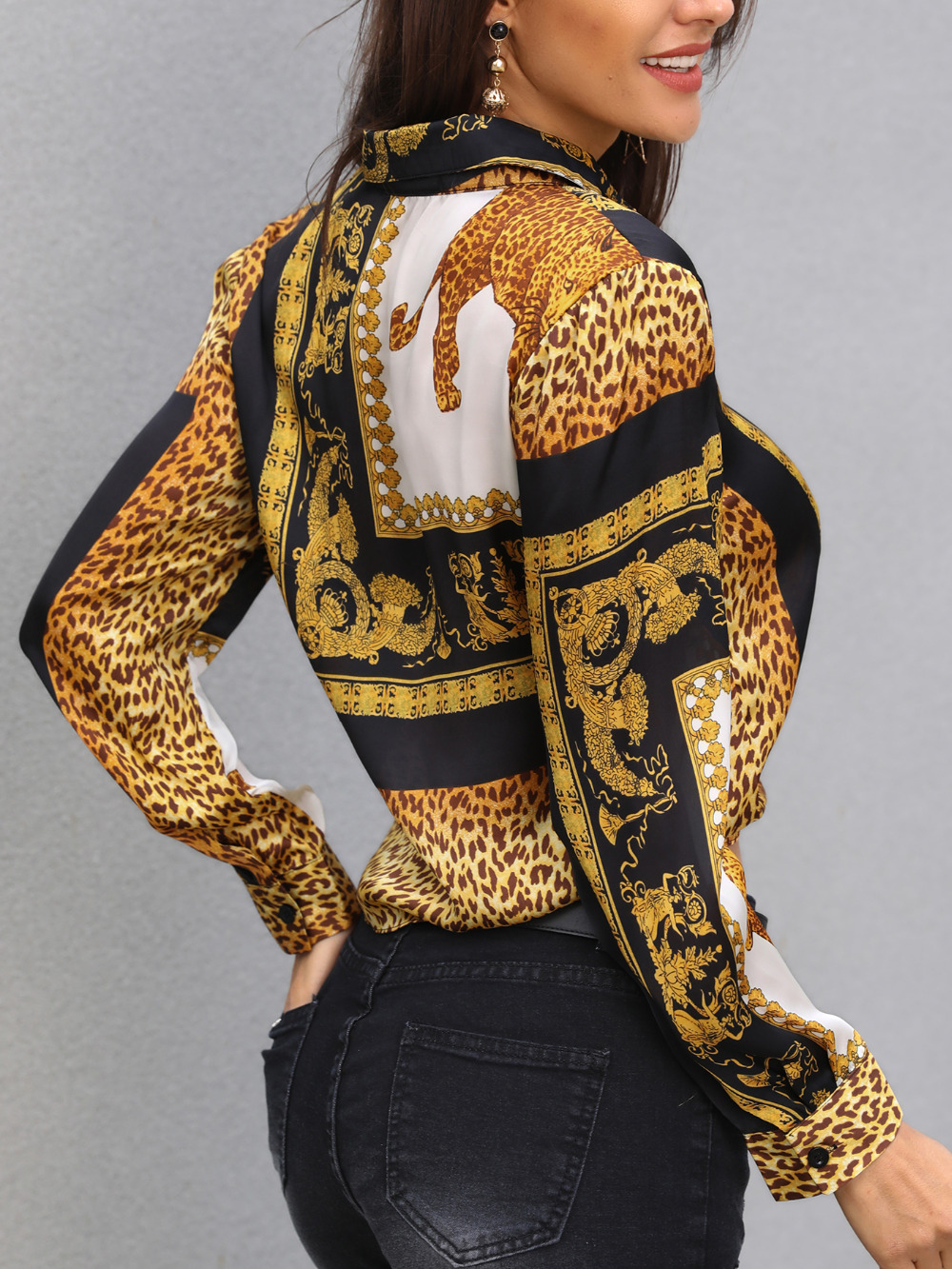 Leopard Print Knot Front Long Sleeve Blouse