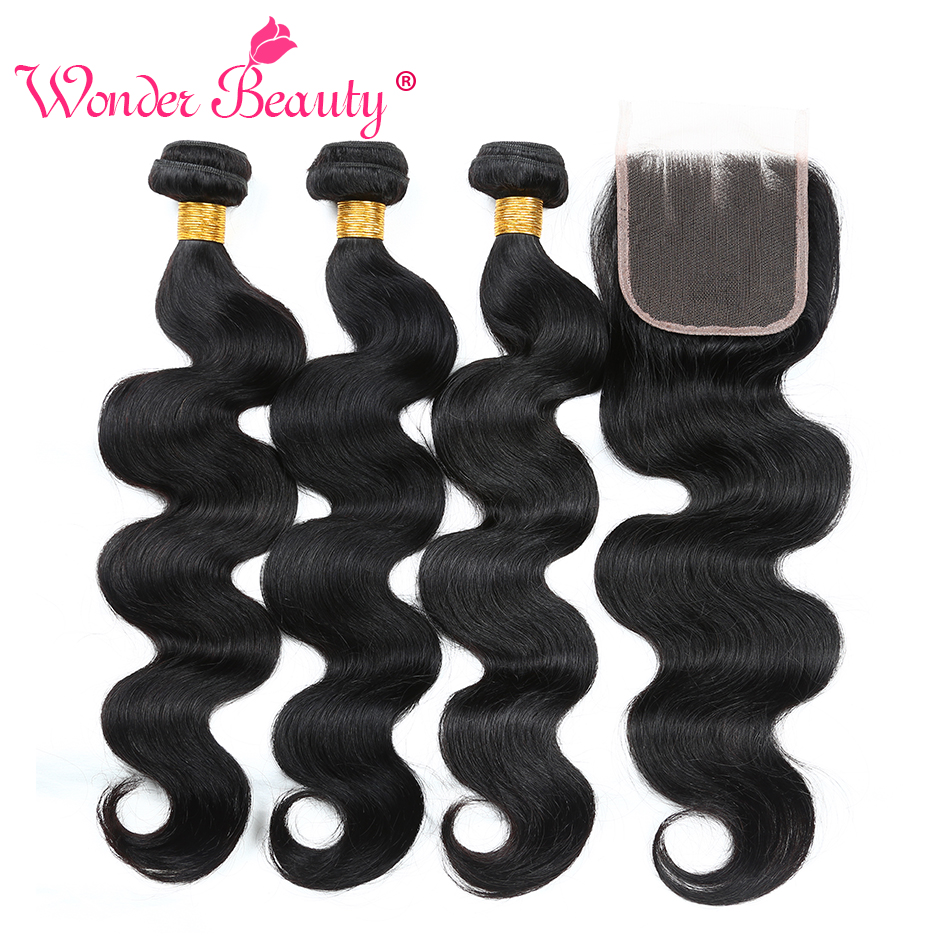Wonder Beauty Malaysia Body Wave Bundle reparte paquetes de Hair - Cabello humano (negro)