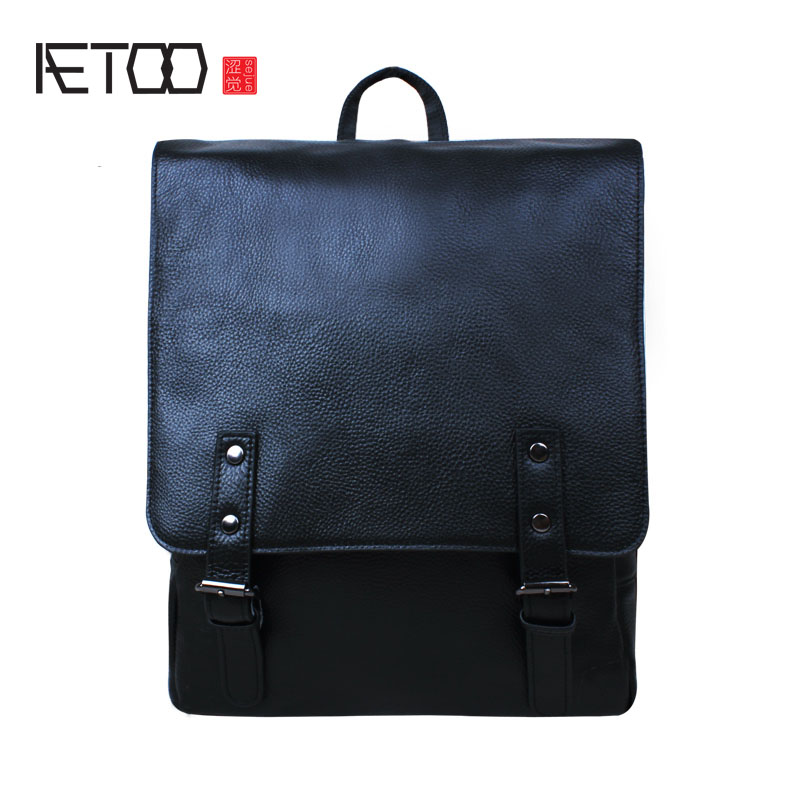 AETOO Shoulder leather backpack head layer cowhide business simple computer bag student travel male aetoo original shoulder bag leather retro backpack business computer bag head layer leather travel male bag college wind