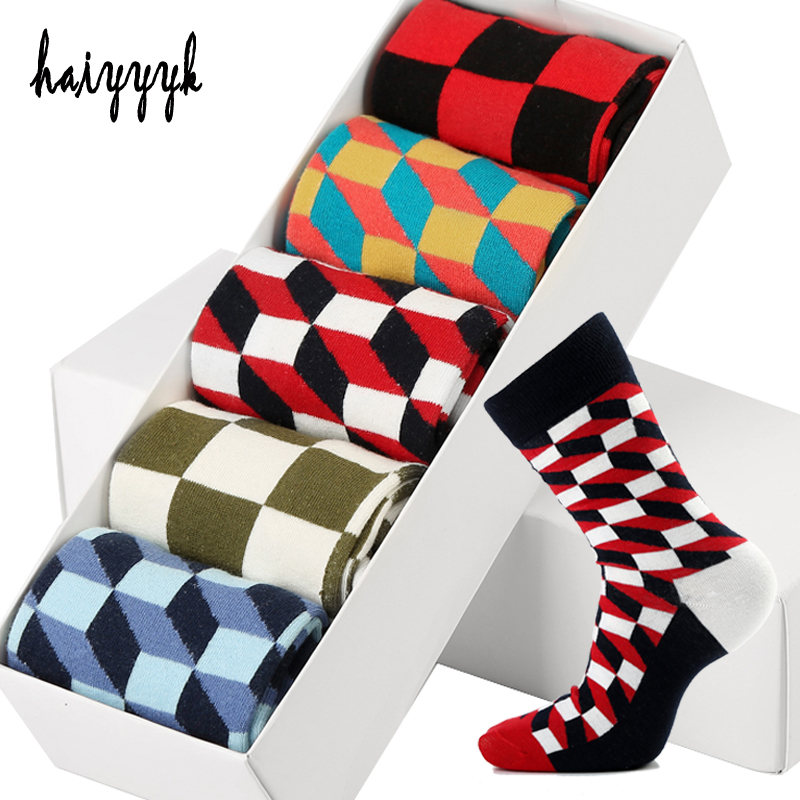 5 Pair/Lot Combed Cotton Mens Socks Happy Compression Socks  Colorful Diamond Funny Dress Socks Men Big Size 39-46