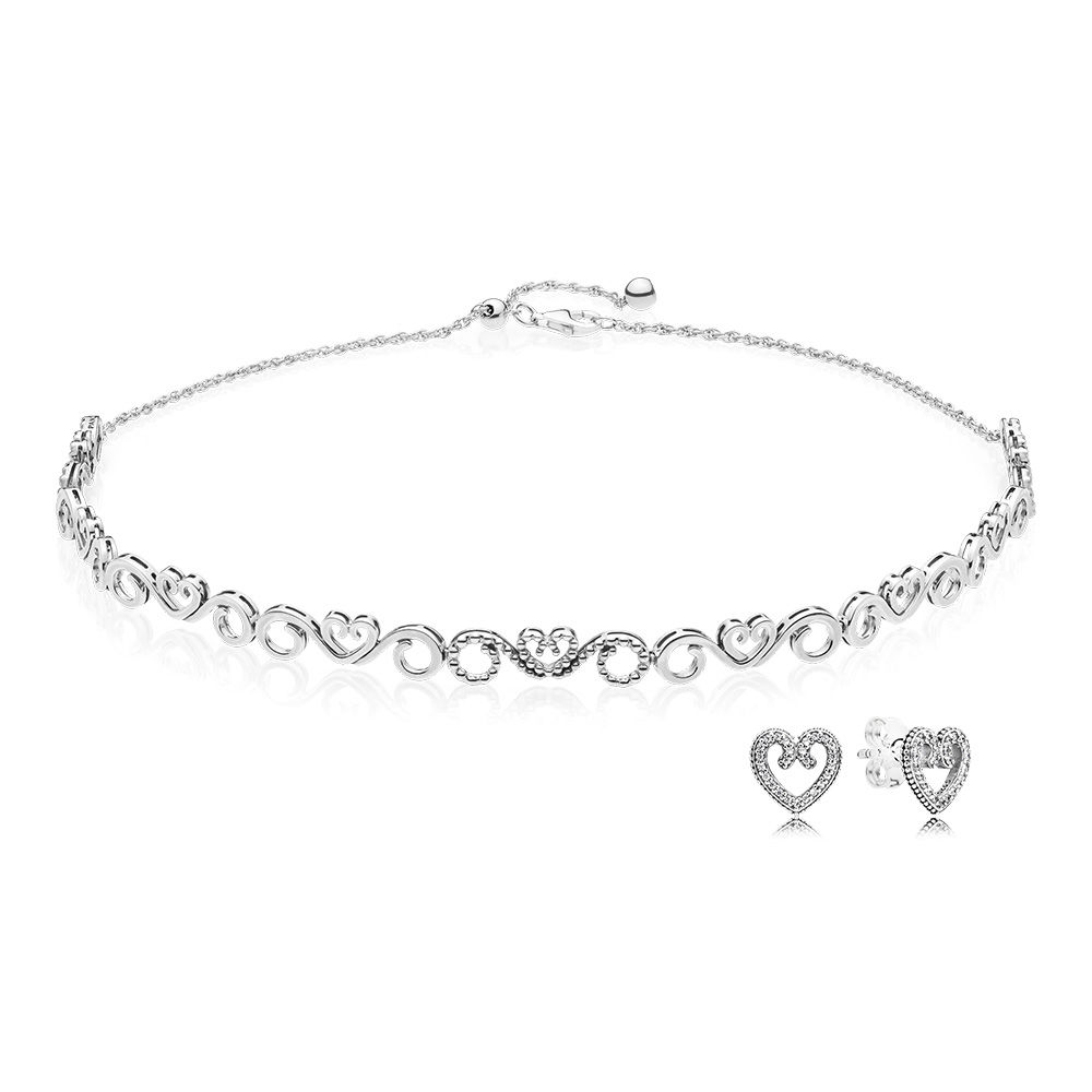 2018 100% 925 Sterling Silver Heart Swirls Choker And Earring Set Fit Charm Original Necklace A set of prices