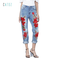 catonATOZ 2126 Women Embroidered Flower Jeans Sexy Ripped Stretchy Denim Pants Female Slim Trousers Jeans For Woman