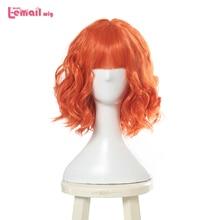 L e mail perücke Neue Frauen Perücken 30 cm/11,81 inch Kurze Lockige Orange Wärme Beständig Synthetische Haar Perucas cosplay Perücke