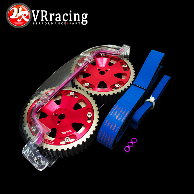 VR RACING - HNBR Racing Timing Belt + Balance + Aluminum Cam Gear + Clear Cam Cover FOR EVO 1-9 4G63 VR-TB1007B+6538R+6331  clear fit range vr 40 revolution