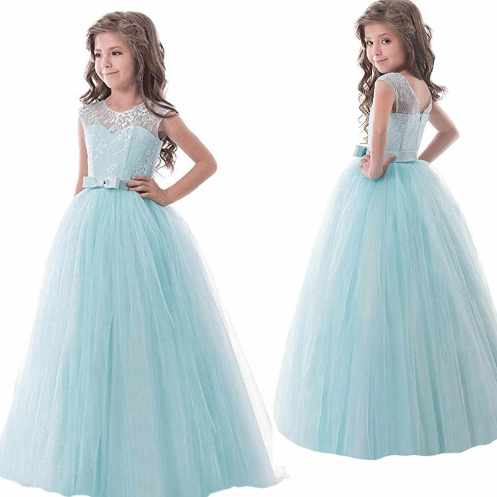 d61fc832fb Flower Lace Girl Dress Frock For Wedding Girl Long Evening Gown ...