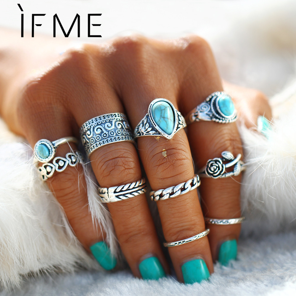 IF ME Retro Midi Rings Set Kvinder Antik Sølvfarve Big Blue Stone Flowers Rings Bohemian Ring Set Smykker Anillos 10pcs / set