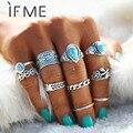Si ME Retro Midi Anillos de las mujeres color de plata antiguo Gran Piedra Azul flores Anillos anillo de conjunto de joyas Anillos 10 unids/set