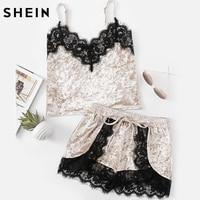 SHEIN Womens Sleepwear Pajama Set Grey Spaghetti Strap Eyelash Lace Trim Sleeveless Velvet Cami And Shorts