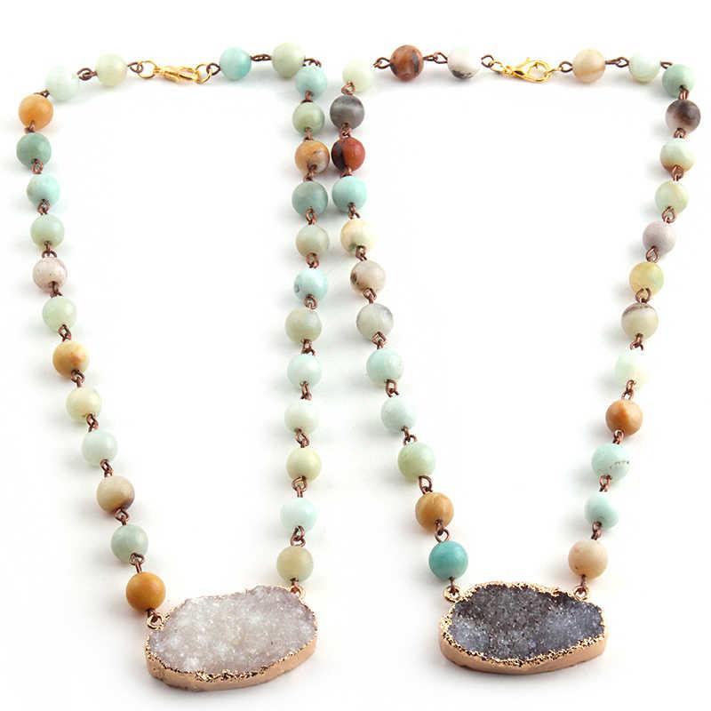 Модное богемное этническое ремесленное ювелирное изделие Четки Цепь камни амазонита короткие большие белые черные друзы Шарм ожерелье-чокер с медальоном