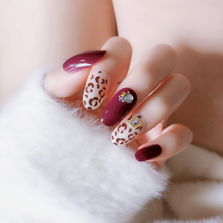 Earnest 2019 New Pattern Leopard Print Fake Nail Full Cover False Nail 24pcs Long Red False Nail Small Round Head Nail Tips With Glue Back To Search Resultsbeauty & Health