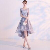 In Stock Lavender Satin V Neck Asymmetrical Vestidos elegantes Vestido de noche Robe soiree Arabic evening dress Ever pretty