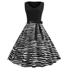 купить New Spring Summer women zebra-stripe patchwork contrast colour print casual V-Neck sleeveless Sashes lady Vest dress онлайн