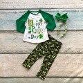 Nueva llegada de los bebés ropa niñas Feliz Día de San Patricio Del Trébol trajes niños Trébol pantalón con accessoreis