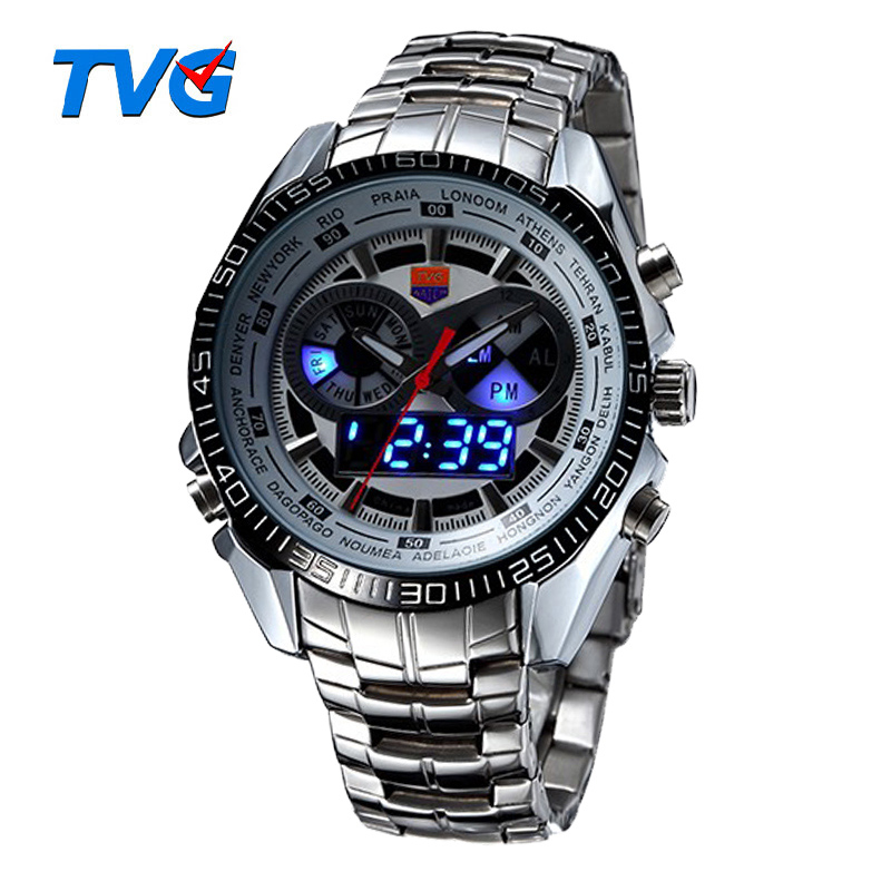 Hot TVG Male Sports Watch Men Full Stainless Steel Vattentät Quartz Watch Digital Led Analog Dual Display Herr Armbandsur