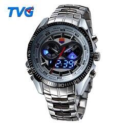 Hot TVG Male Sports <font><b>Watch</b></font> Men Full Stainless Steel Waterproof Quartz-<font><b>watch</b></font> Digital Led <font><b>Analog</b></font> Dual Display Men's <font><b>Wrist</b></font> <font><b>Watches</b></font>