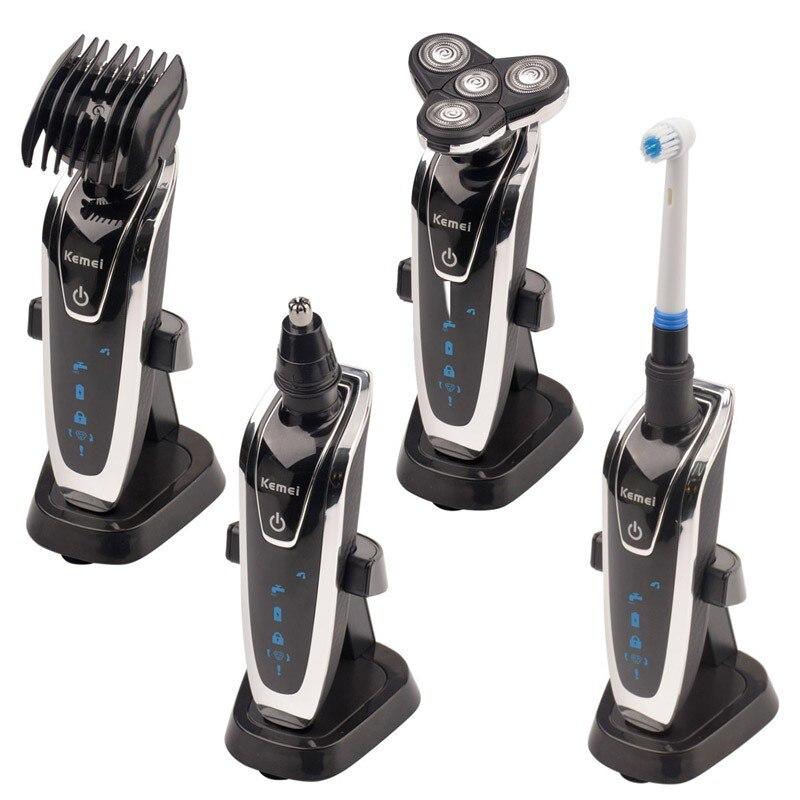 4 em 1 Homens Barbeador Elétrico Barba Navalha máquina de Cortar Cabelo Nariz Aparador Barbeador Recarregável Barbeador À Prova D' Água Homens Enfrentam Cuidados # KM5181