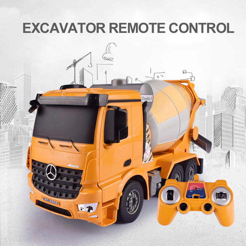 цены HELIWAY 1:26 Original Rc Truck Excavator Flash Toy Remote Control Engineering Mixer Truck Model Vehicle Toys