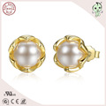 Good Quality Mini Gold Plated 100% S925 Sterling Silver Pearl Earring Stud