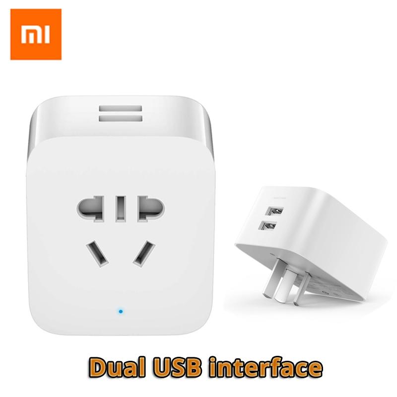 цена Original Xiaomi Mi Smart Socket WiFi Plug Control Power Count Timer Switch Dual USB with AU/US/EU/UK Adapter