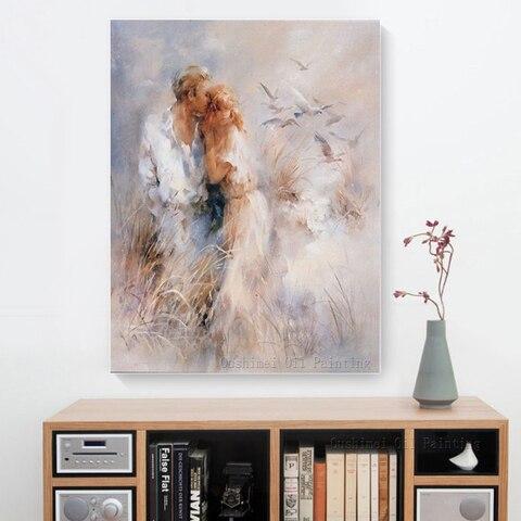 Pintura a Óleo da Lona Moderna para Sala de Estar o Envio Gratuito de Alta Qualidade Mão-pintado Romântico Amante Pintura Decorativa Decoração