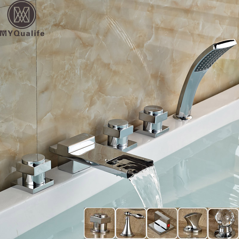 Luxury 5 pc Widespread Waterfall Spout Bathtub Sink Faucet Deck Mounted Longer Spout with Handshower Bathroom Roman Tub Taps