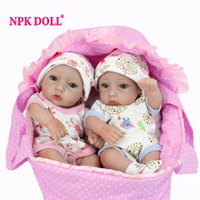 "NPKDOLL 10"" A Pair Mini Dolls Reborn Handmade 28CM Full Silicone Reborn Babies Twins Baby Doll For Kids Toys Christmas Gift(China)"