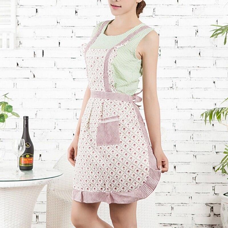 Unihome 1pcs 76*58cm Women Restaurant Home Kitchen apron Flower Printed Pocket Lace Cooking Cotton Apron
