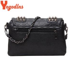 Image 3 - Yogodlns Women Black Leather Messenger Bags Fashion Vintage Messenger Cool Skull Rivets Shoulder Bags sac a main bolsa