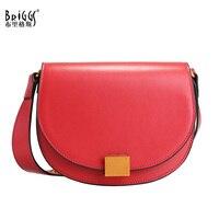BRIGGS Classic Saddle Bags Luxury Handbags Business Women Messenger Bag Fashion Split Leather Shoulder Bag For Women Party Bags