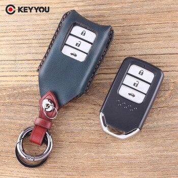 Keyyou Hakiki Deri 3 Düğmeler Araba Anahtar Kılıfı çanta Cüzdan Anahtarlık Için Honda Fit Caz Accord Civic Cr V Xrv Pilot