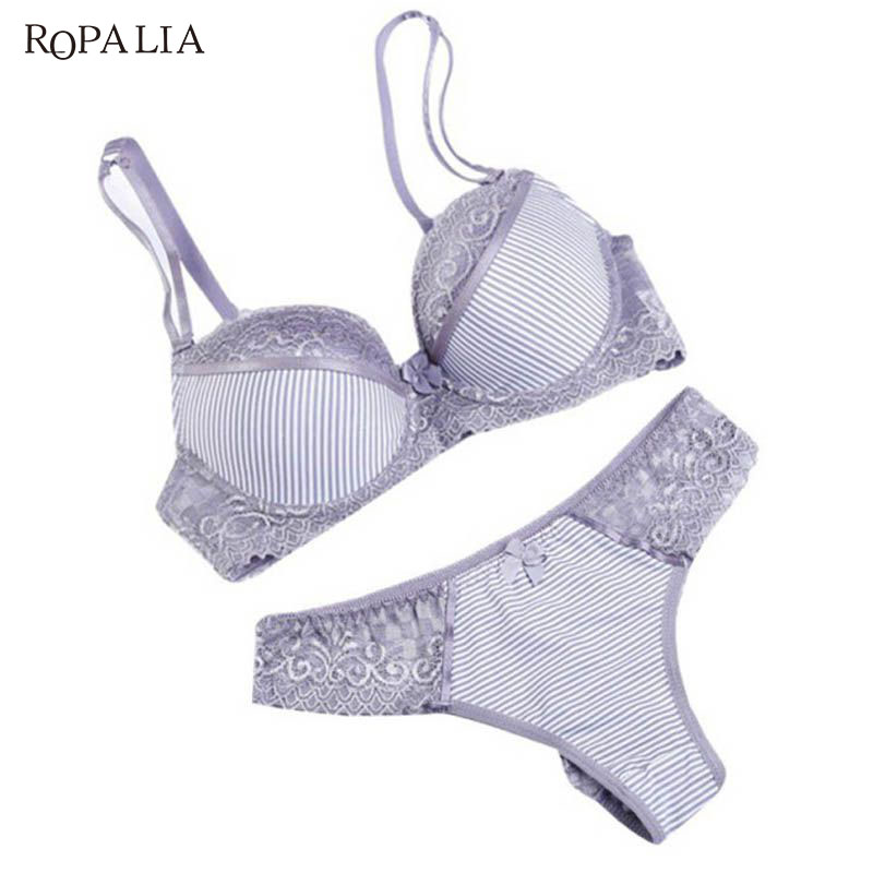 ROPALIA Fashion Lady Bra Brief Sets Lace Push Up Bra Set Women Underwear Girl Sexy lingerie