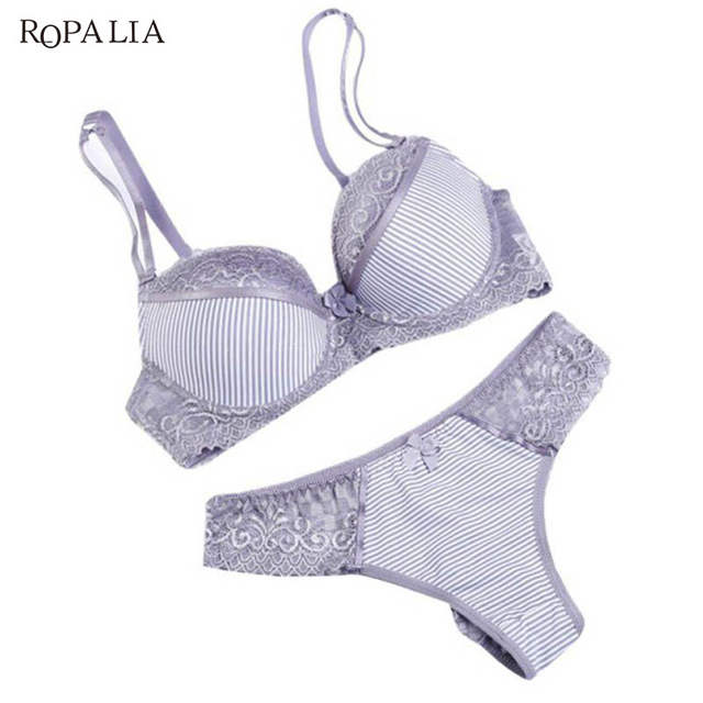13f44289f0 Online Shop ROPALIA Fashion Lady Bra Brief Sets Lace Push Up Bra Set Women  Underwear Girl Sexy lingerie