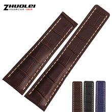 Zhuolei Genuíno Italiano Calf Leather Strap 22/24mm Preto Marrom Azul