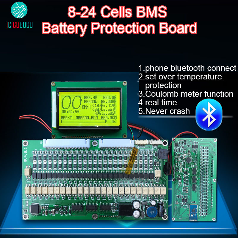 Smart Display 300A 200A 150A 100A 70A Lithium Battery Protection Board Balance BMS Coulomb Meter Lithium iron phosphate Li-ion marvel glass iphone case