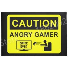 Śmieszne graczy do gier Mat drzwi wejście nowość uwaga gniew dla graczy Gamer maty wejściowe gumy kryty sypialnia gier wideo dywan dywan tanie tanio Podłogi Nowoczesne Drukowane Zakończył dywan (szt) 100 poliester 15 7*23 6inch (40*60cm) or 18*30cin(45*75cm) Korytarz