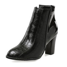 NEW Fashion Pointed toe Snake Print Autumn Summer Boots Cross tie Zipper Ankle Boots Hoof High Heels Short Boots Shoes zzt013