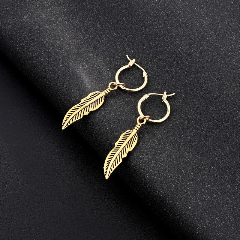 1 Paar Böhmen Einfache Persönlichkeit Feder Blätter Baumeln Earing Mit Anhänger Gold Farbe Blatt Tropfen Ohrringe Für Frauen Schmuck E71 Und Verdauung Hilft