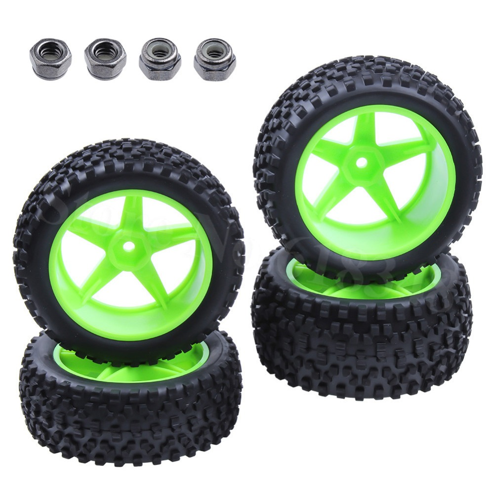 4 pcs / Lot RC 1/10 Buggy Wheels & Ban 12mm Hex Untuk RC Off Road Mobil HSP HPI
