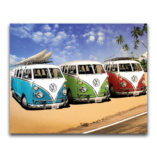Diamond embroidery beach VW car 5d diy diamond painting Cross Stitch full drill Rhinestone mosaic decoration