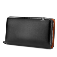 2016 Long Design Male Wallet Fashion Business Clutch Wallets Zipper Purse Genuine Leather Card Holder