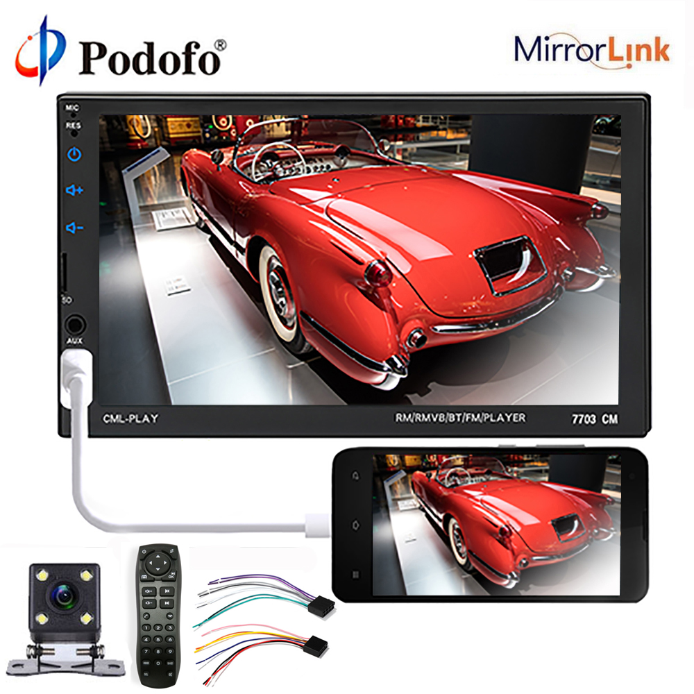 "Podofo 2 din car radio Bluetooth 7"" HD Touch Screen MP5 Player audio stereo Multimedia Video Player 2Din Autoradio AUX/USB/SD"