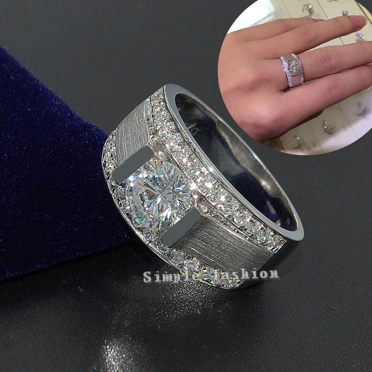 choucong Brand Jewelry Solitaire Men ring 2ct AAAAA zircon cz 925 Sterling silver ring Engagement Wedding Band Ring for Men locket