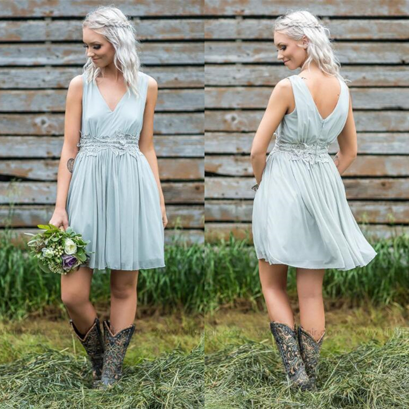 Babyonline V Neck Chiffon   Bridesmaid     Dresses   2019 Sleeveless Wedding Party   Dresses   Mini   Dress   robe demoiselle d'honneur