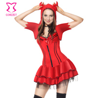 Red Naughty Devil Halloween Costume Carnival Party Cosplay Demon Fantasy Dress Sexy Costumes For Adults Vampire Costume