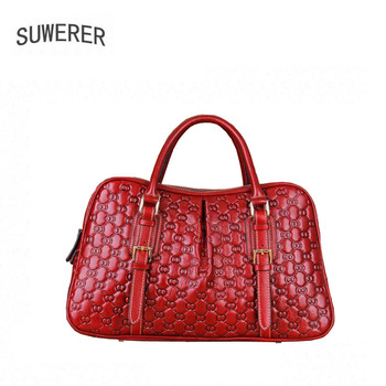 06733a2057ae SUWERER 2019 Новая женская кожаная сумка через плечо высокого качества из  кожи Роскошная тисненая Сумка дизайнерская сумка Бостон сумка